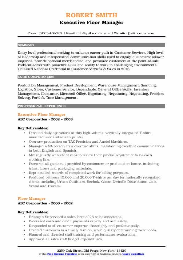 Executive Floor Manager Resume Template