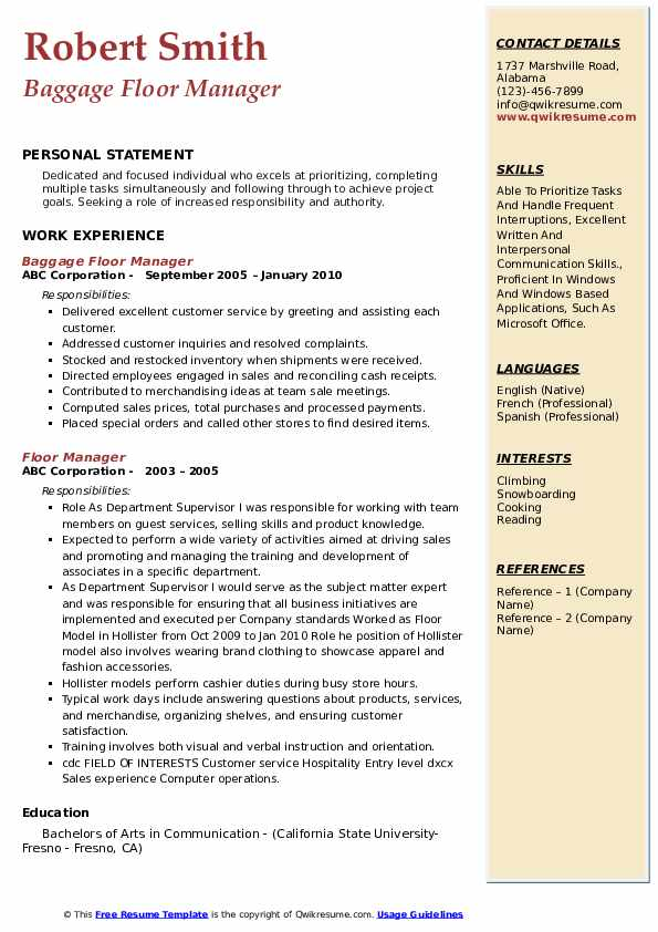 Baggage Floor Manager Resume Format