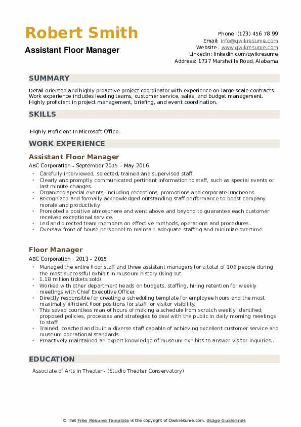 Assistant Floor Manager Resume Format