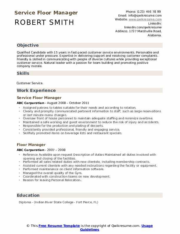 Service Floor Manager Resume Sample