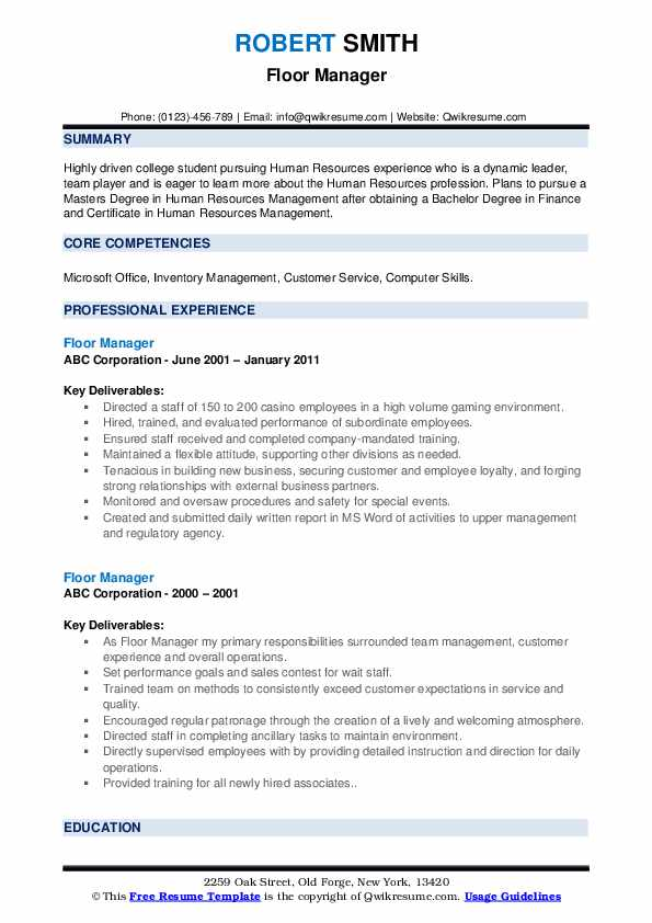 Floor Manager Resume example