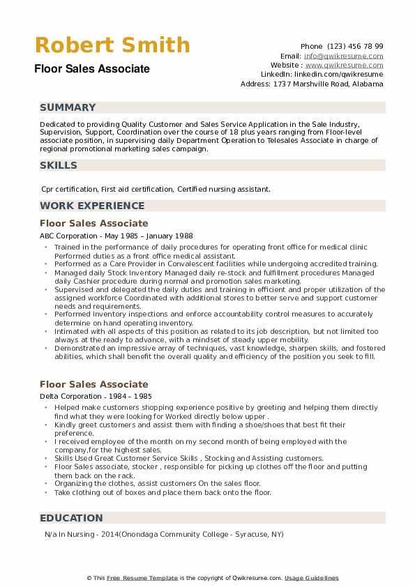 Floor Sales Associate Resume example