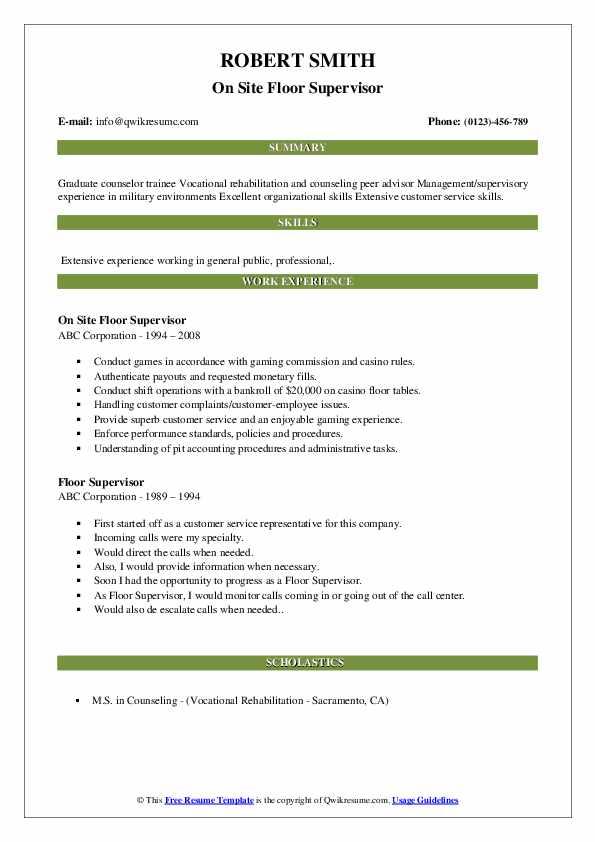 On Site Floor Supervisor Resume Model