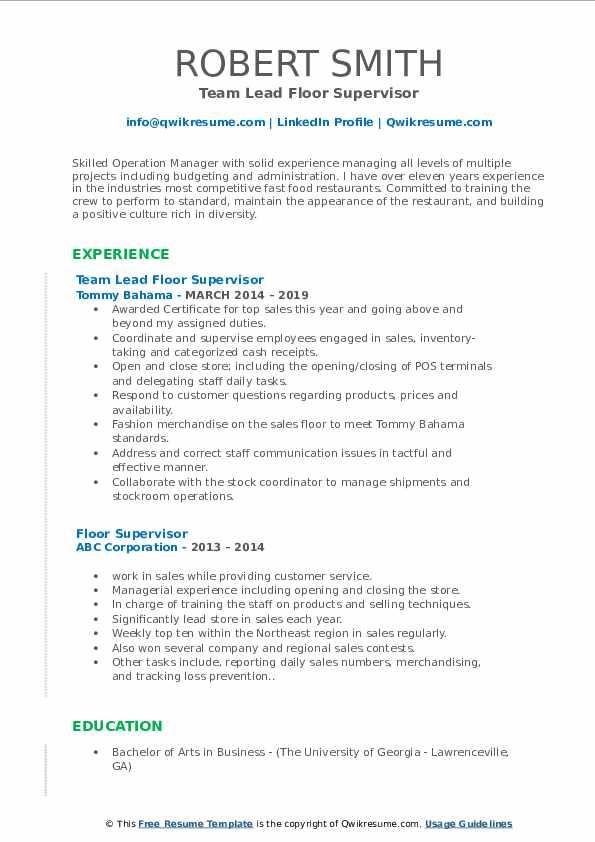Team Lead Floor Supervisor Resume Sample