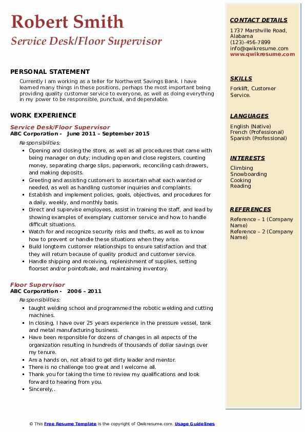 Service Desk/Floor Supervisor Resume Model