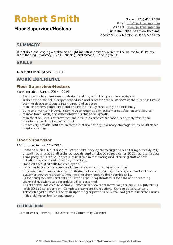 Floor Supervisor/Hostess Resume Model