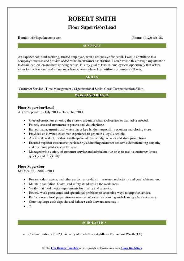 Floor Supervisor/Lead Resume Template