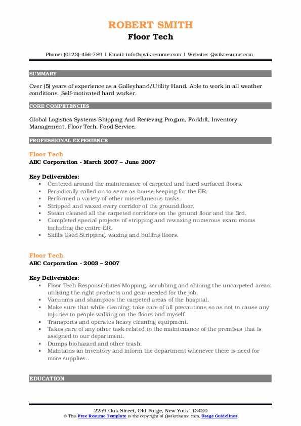 Floor Tech Resume example