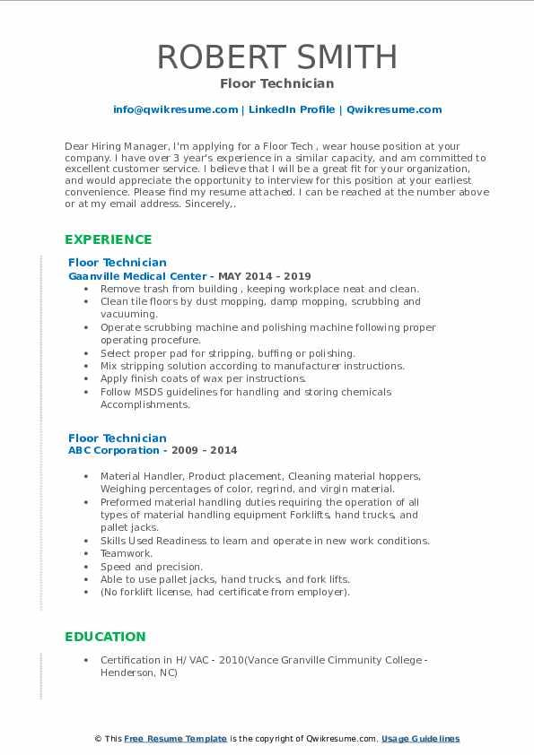 Floor Technician Resume Example