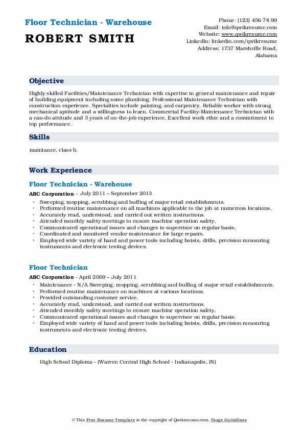 Floor Technician - Warehouse Resume Template