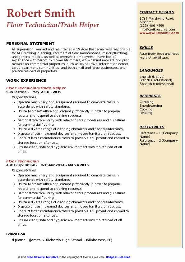 Floor Technician/Trade Helper Resume Format