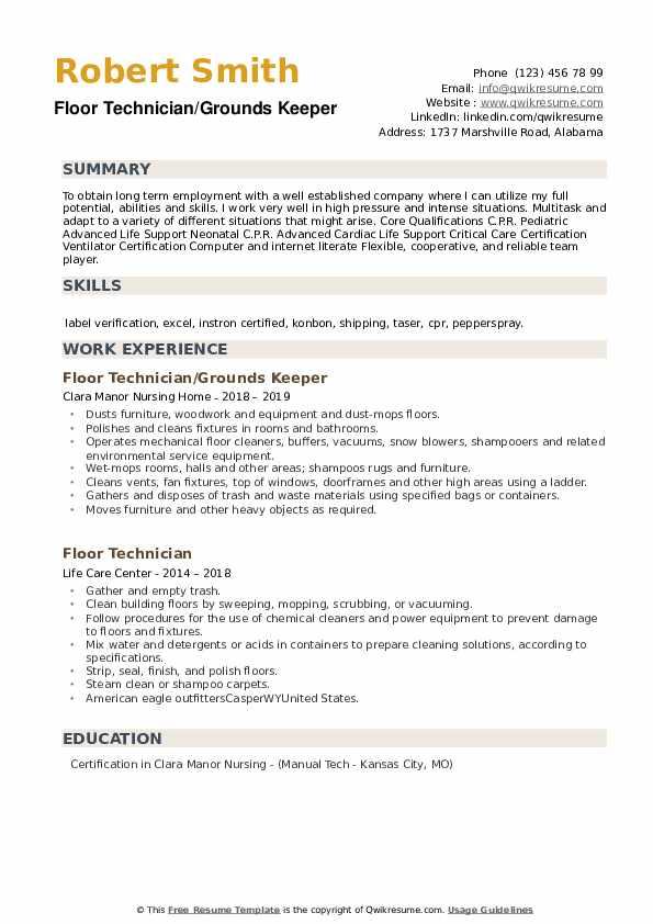 Floor Technician/Grounds Keeper Resume Sample