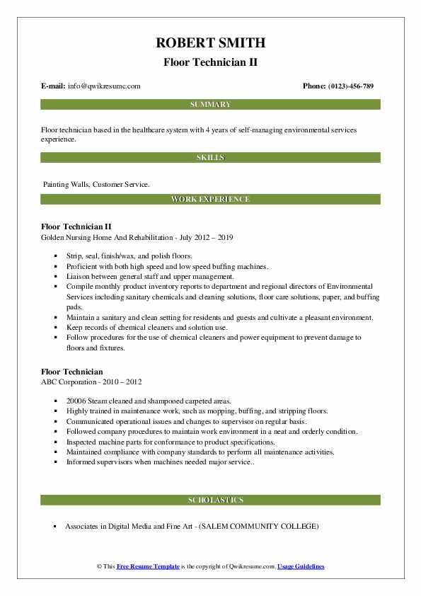 Floor Technician II Resume Format