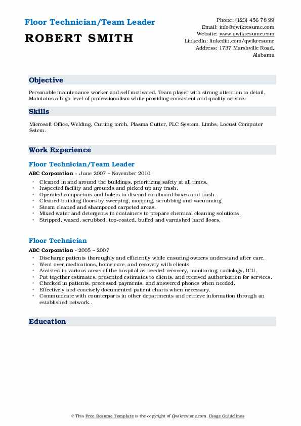 Floor Technician/Team Leader Resume Example