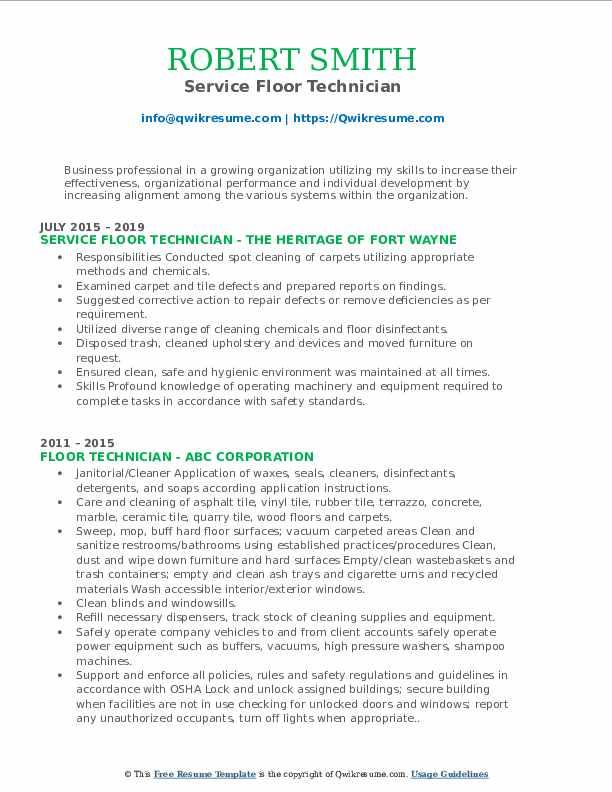 Service Floor Technician Resume Format