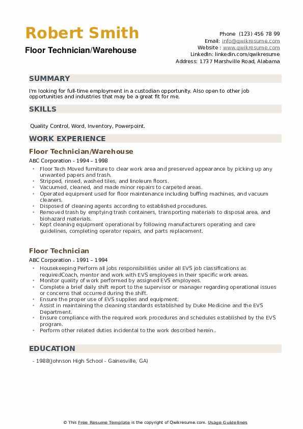 Floor Technician Resume Samples