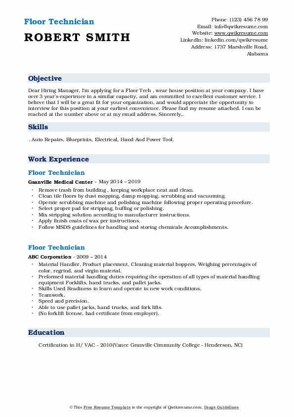 Sr. Machine Technician Resume Example