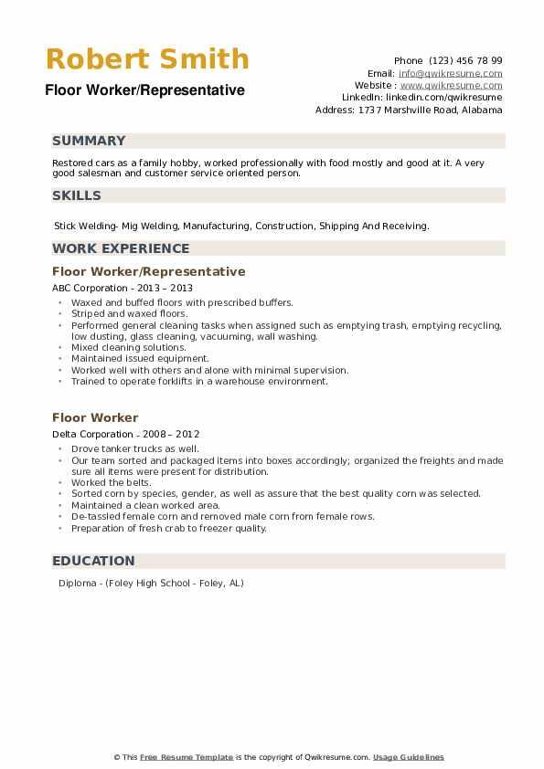 Floor Worker Resume example