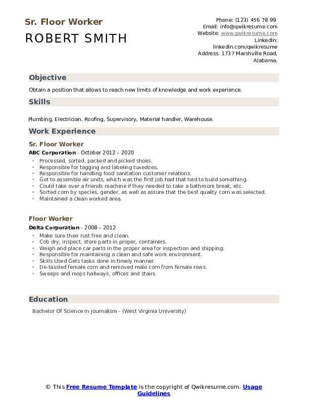 carpet installer resume samples  qwikresume