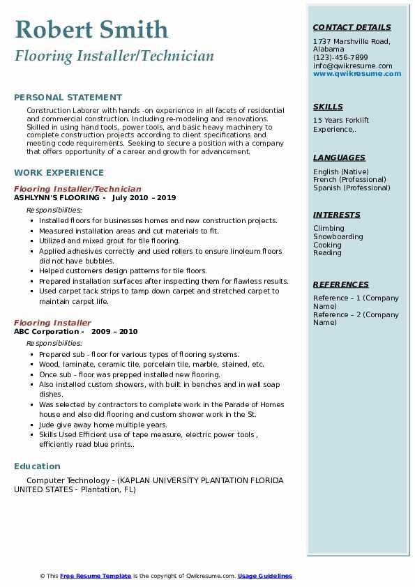 Flooring Installer/Technician  Resume Format