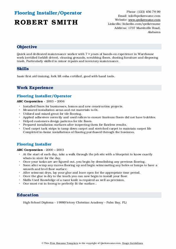 Flooring Installer/Operator Resume Format