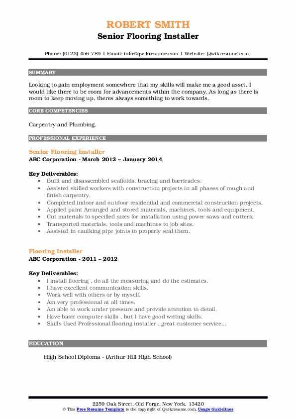 Senior Flooring Installer Resume Model