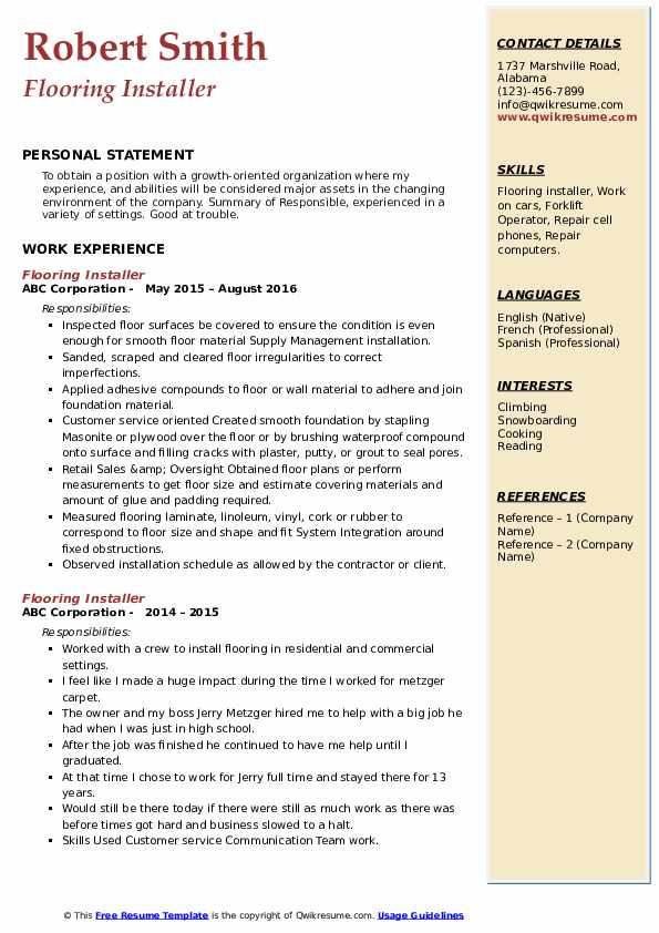 Flooring Installer  Resume Example