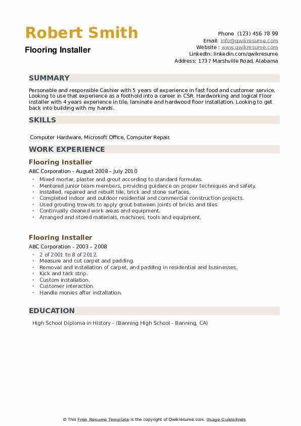 flooring installer resume samples