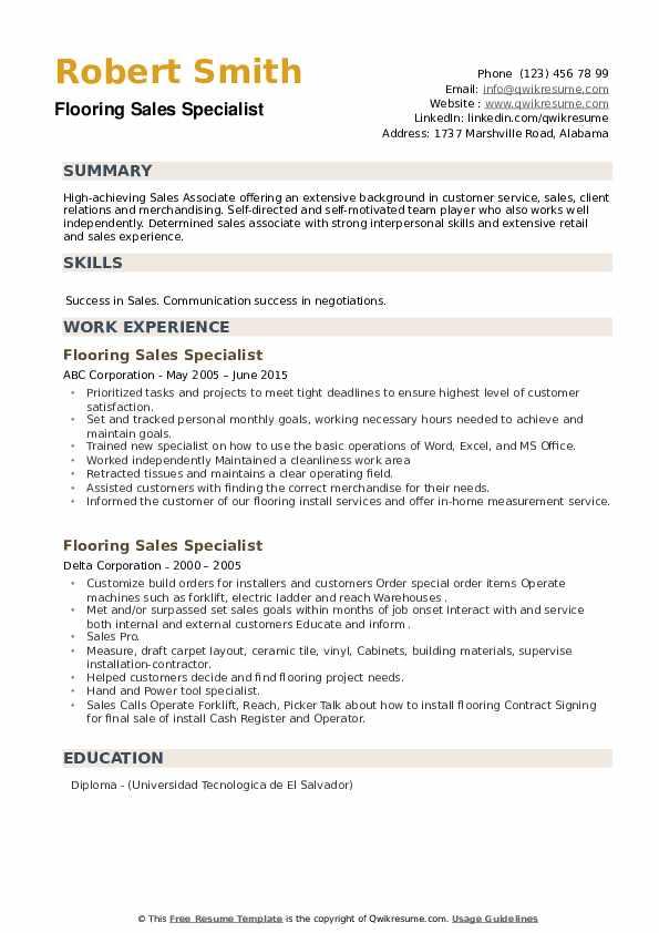 Flooring Sales Specialist Resume example
