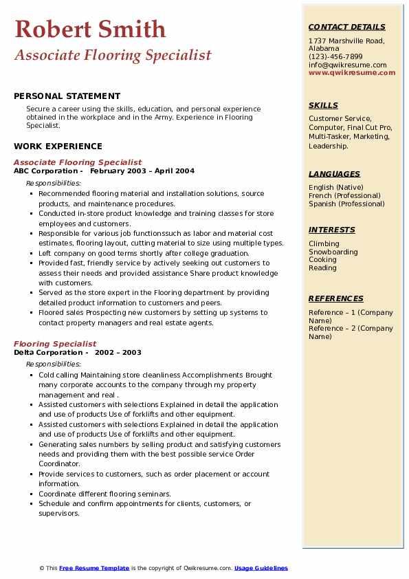 flooring specialist resume samples  qwikresume