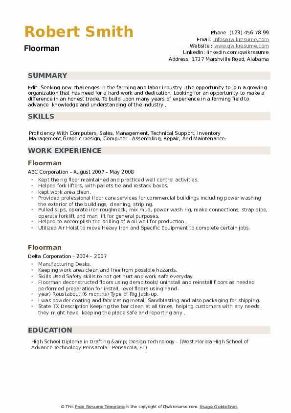 Floorman Resume example