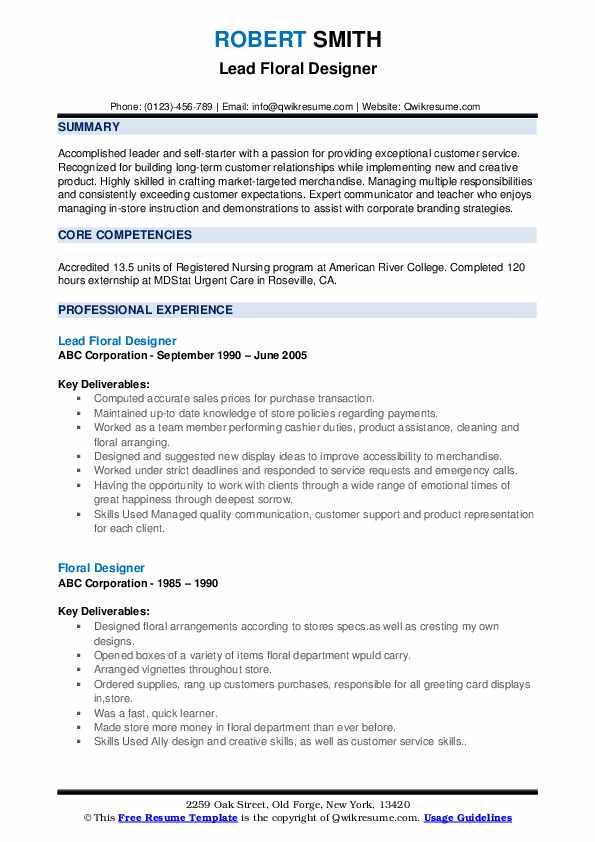 Lead Floral Designer Resume Model