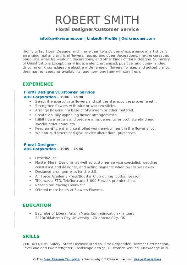 Floral Designer/Customer Service Resume Format