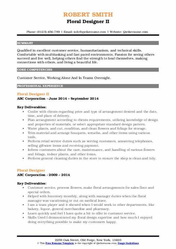 Floral Designer II Resume Format