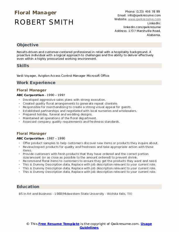Floral Manager Resume example