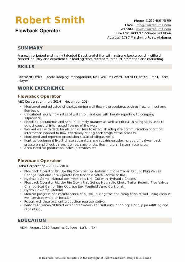 Flowback Operator Resume example