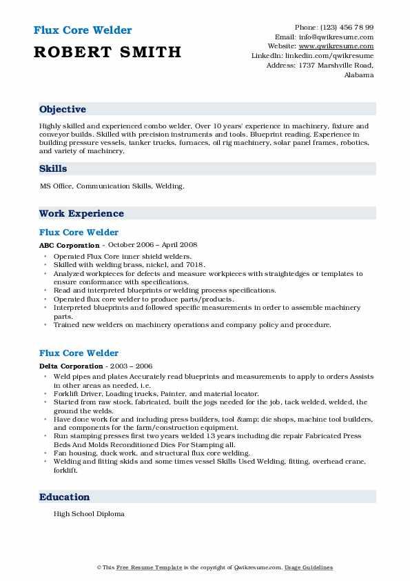 flux core welder resume samples  qwikresume