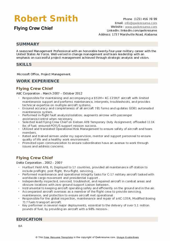 Flying Crew Chief Resume example