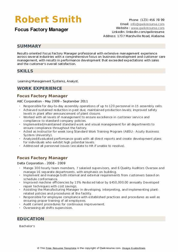 Focus Factory Manager Resume example