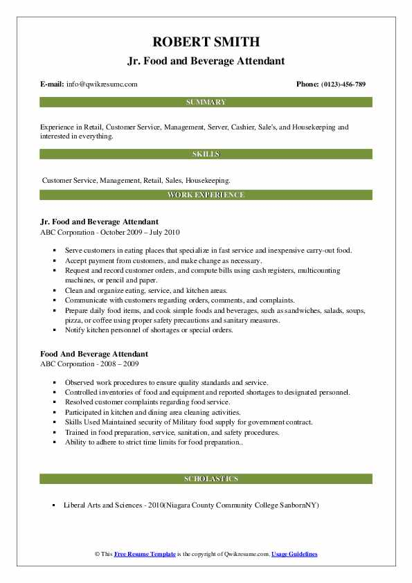 Jr. Food and Beverage Attendant Resume Example