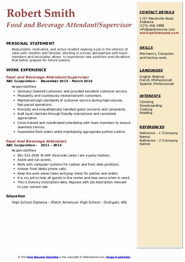 Food and Beverage Attendant/Supervisor Resume Template
