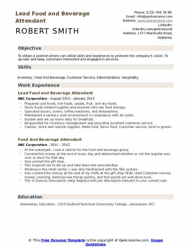 Lead Food and Beverage Attendant Resume Template