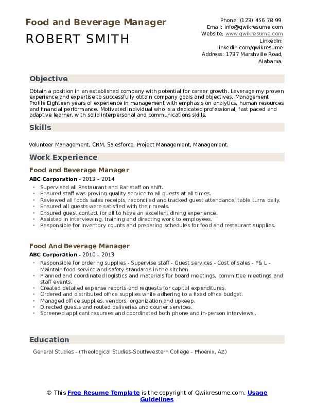 Food And Beverage Manager Resume Samples Qwikresume