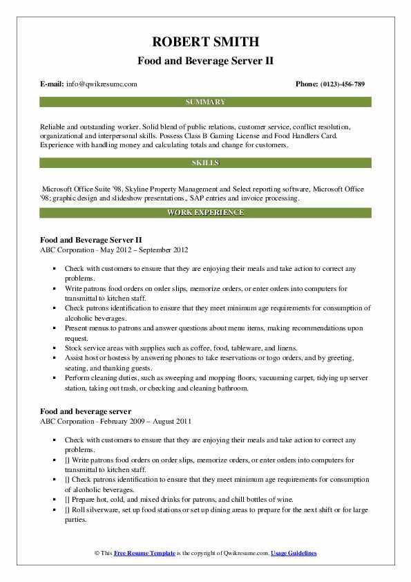 Food and Beverage Server II Resume Sample