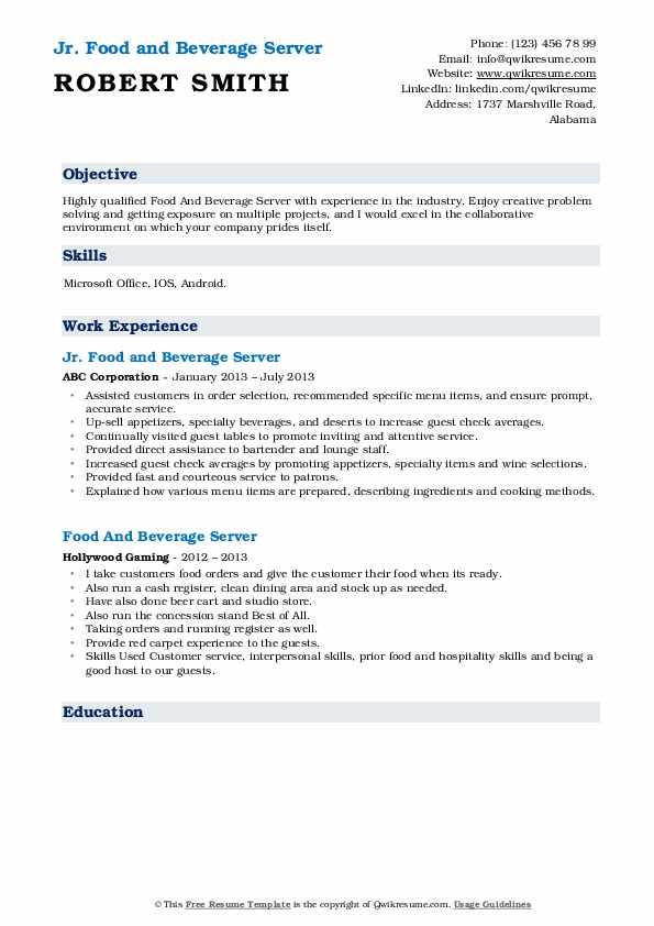 Jr. Food and Beverage Server Resume Template