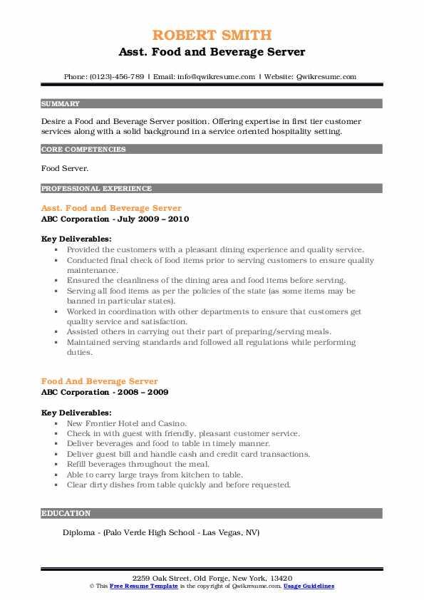 Asst. Food and Beverage Server Resume Template