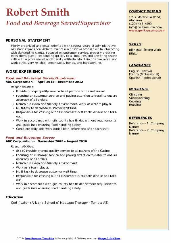 Food and Beverage Server/Supervisor Resume Example