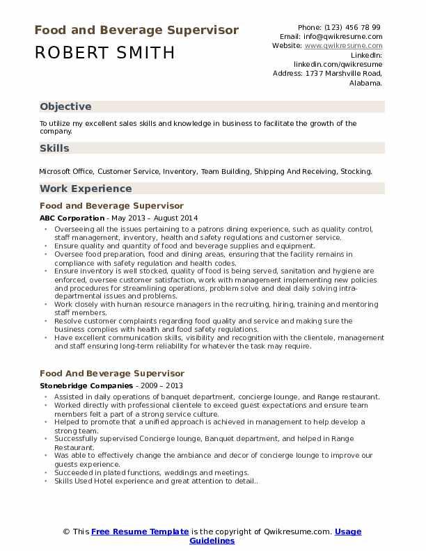Resume food and beverage supervisor resume sample office assistant