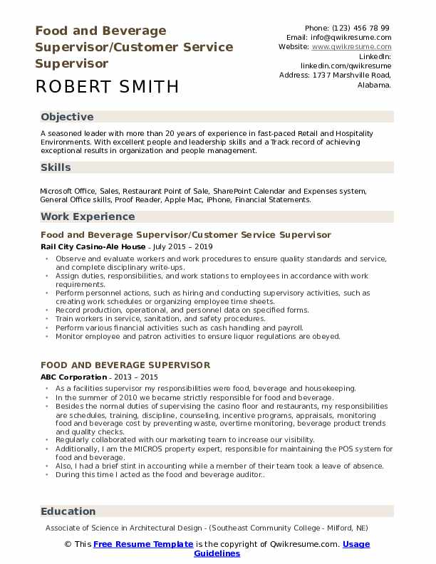 Resume food and beverage supervisor help with  admission essay on brexit