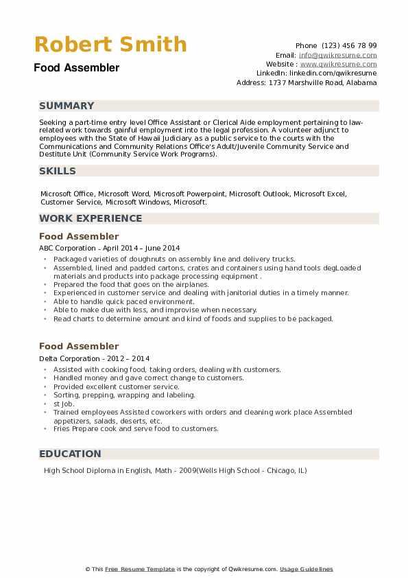 Food Assembler Resume example